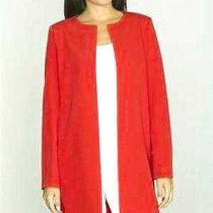 New Red Round Neckline Open Office Blazer  Size 16